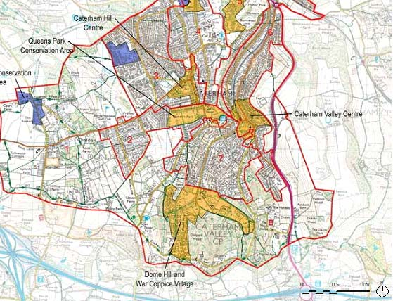 Map showing Character Areas in Caterham, Chaldon and Whyteleafe
