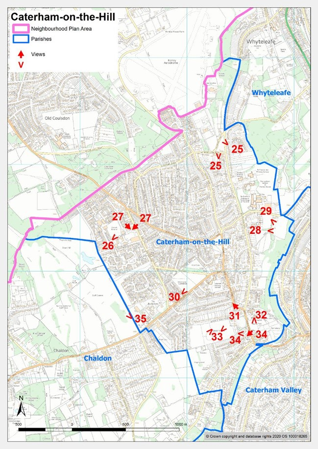 Map showing significant views in Caterham on the Hill