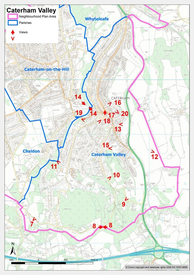 Map showing significant views in Caterham Valley