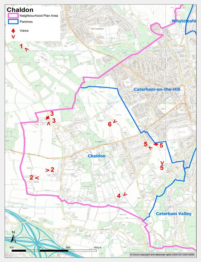 Map showing significant views in Chaldon