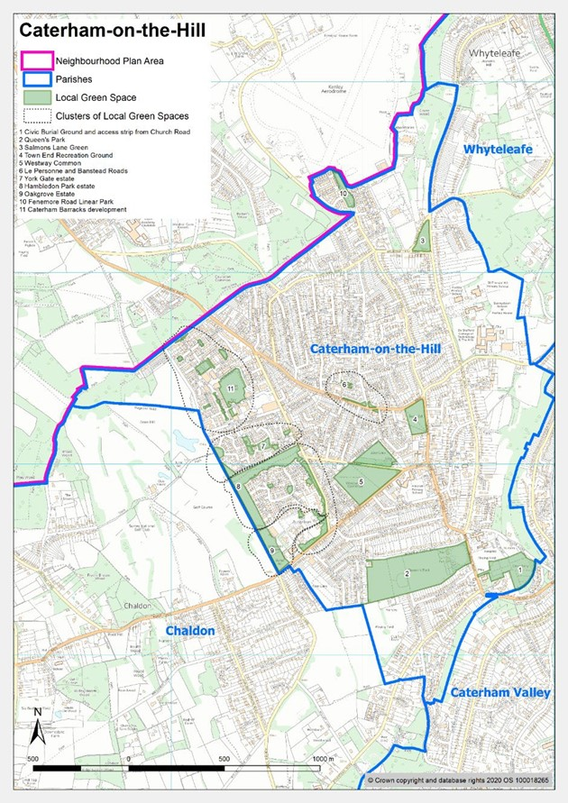 Map of Caterham on the Hill local green spaces