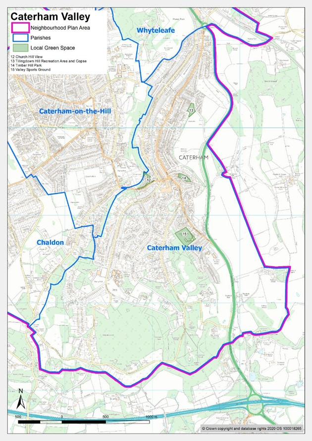 Map showing Caterham Valley local green spaces