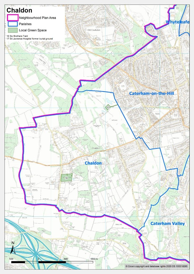 Map showing local green spaces in Chaldon