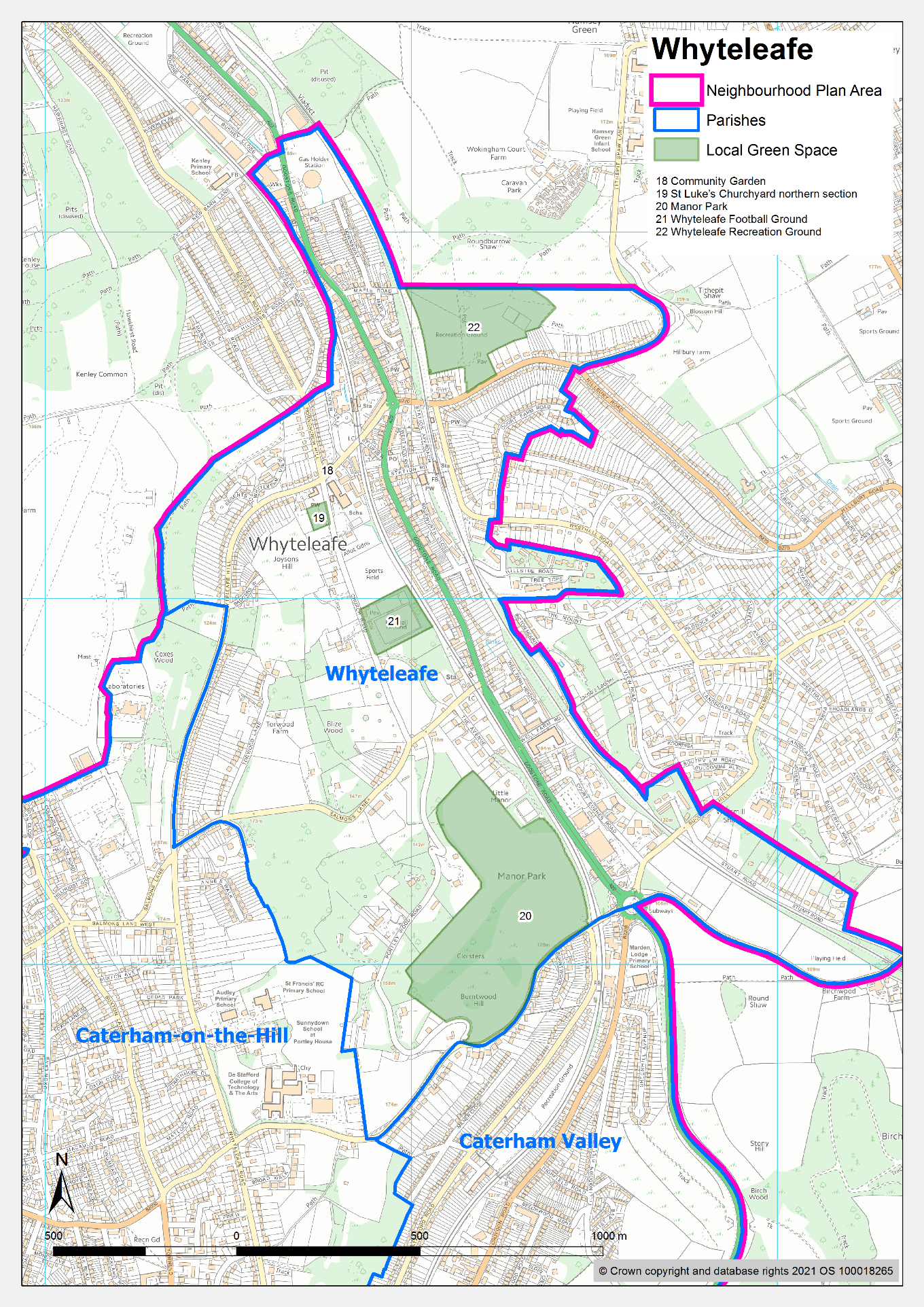 Map of Whyteleafe, showing designated logal green spaces